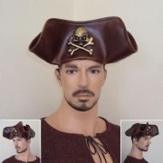 Skull & Crossbones Brown Leather Pirate Tricorn Hat